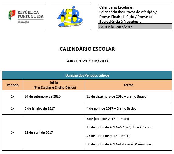 calendário escolar 2016-2017 1
