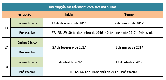 calendário escolar 2016-2017 2x