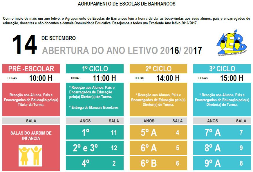 Início Ano Letivo 2016-2017