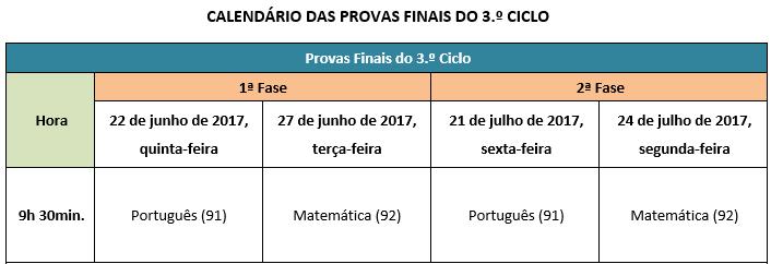 Calendários das Provas Finais 2017